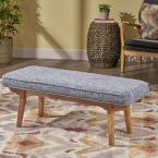 Noble House Reagan Mid-Century Modern Bluish Gray Fabric Bench with Rubberwood Legs