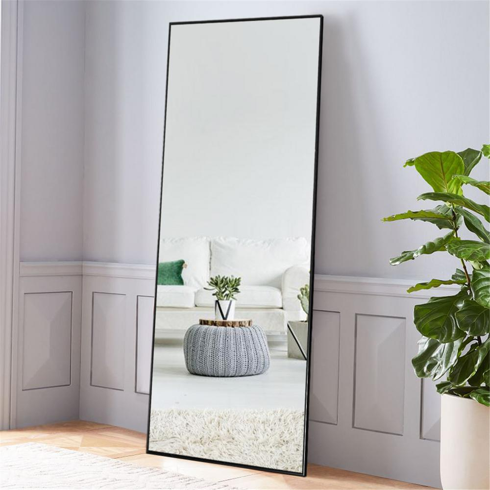 Neutype Black Aluminum Alloy Thin Frame Full Length Floor Mirror