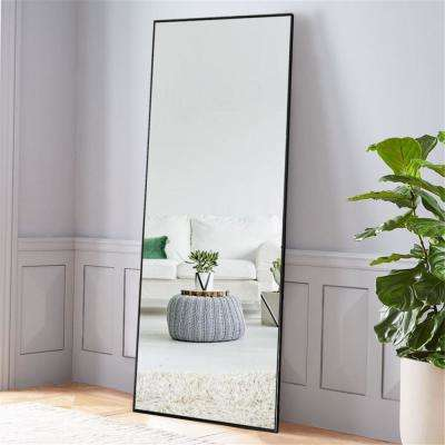 NeuType Black Aluminum Alloy Thin Frame Full Length Floor Mirror Standing Hanging or Leaning Against Wall