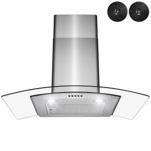 30 in. Convertible Wall Mount Range Hood with LEDs, Push Control and Carbon Filters in Stainless Steel