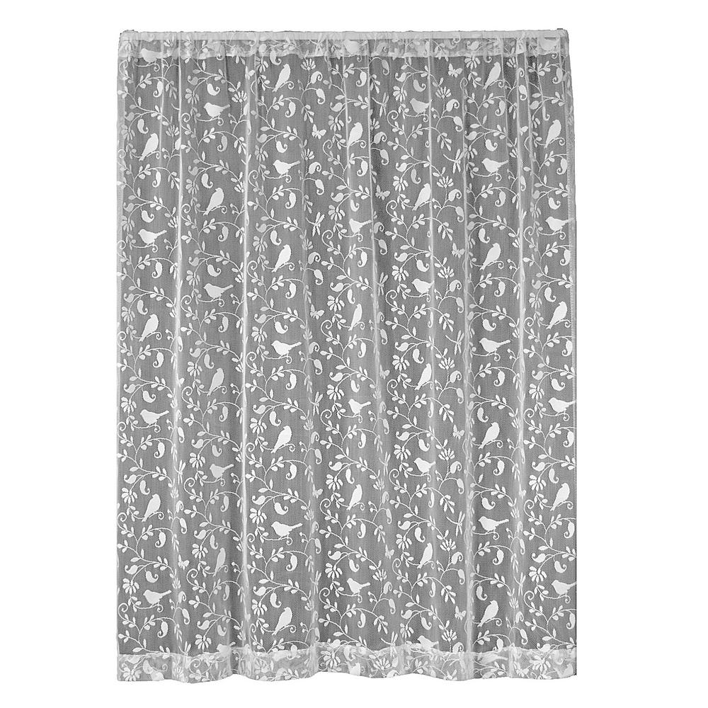 Heritage Lace Bristol Garden White Lace Curtain 60 in. W x 96 in. L
