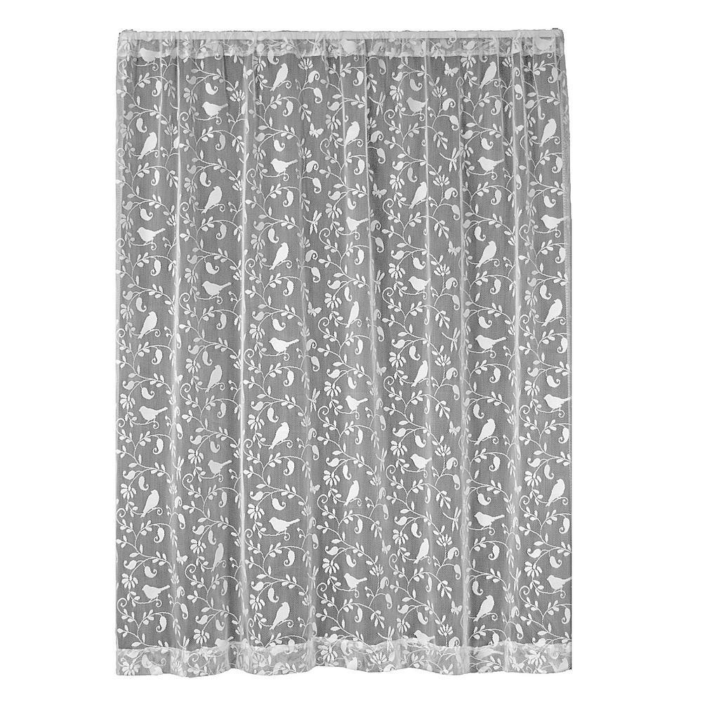 Bristol Garden White Lace Curtain 60 in. W x 96 in. L