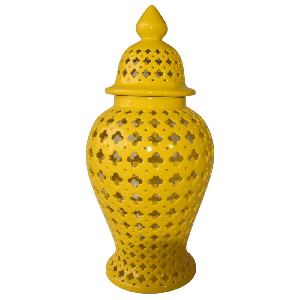 34 in. Yellow Ceramic Jar
