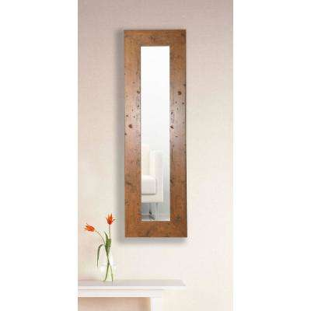 11.5 in. x 29.5 in. Rustic Light Walnut Vanity Mirror Single Panel