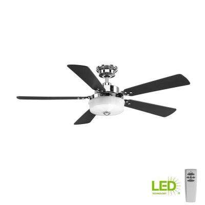 Tempt 54 in. LED Indoor Polished Chrome Ceiling Fan with Light Kit and Remote
