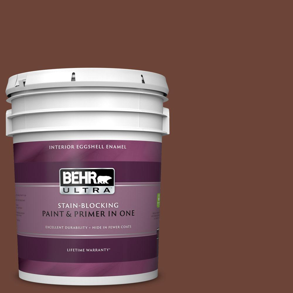 Behr Ultra 5 Gal Icc 81 Traditional Leather Eggshell Enamel Interior Paint And Primer In One