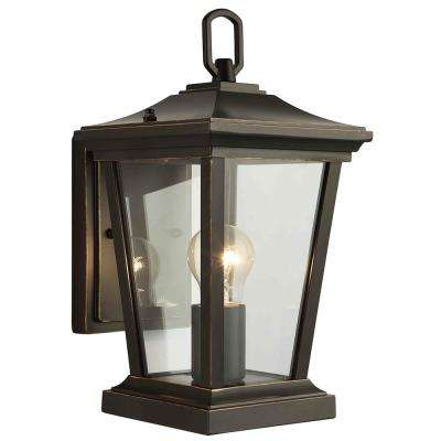 1-Light Oil Rubbed Bronze Outdoor Wall Mount Sconce with Clear Glass Shade