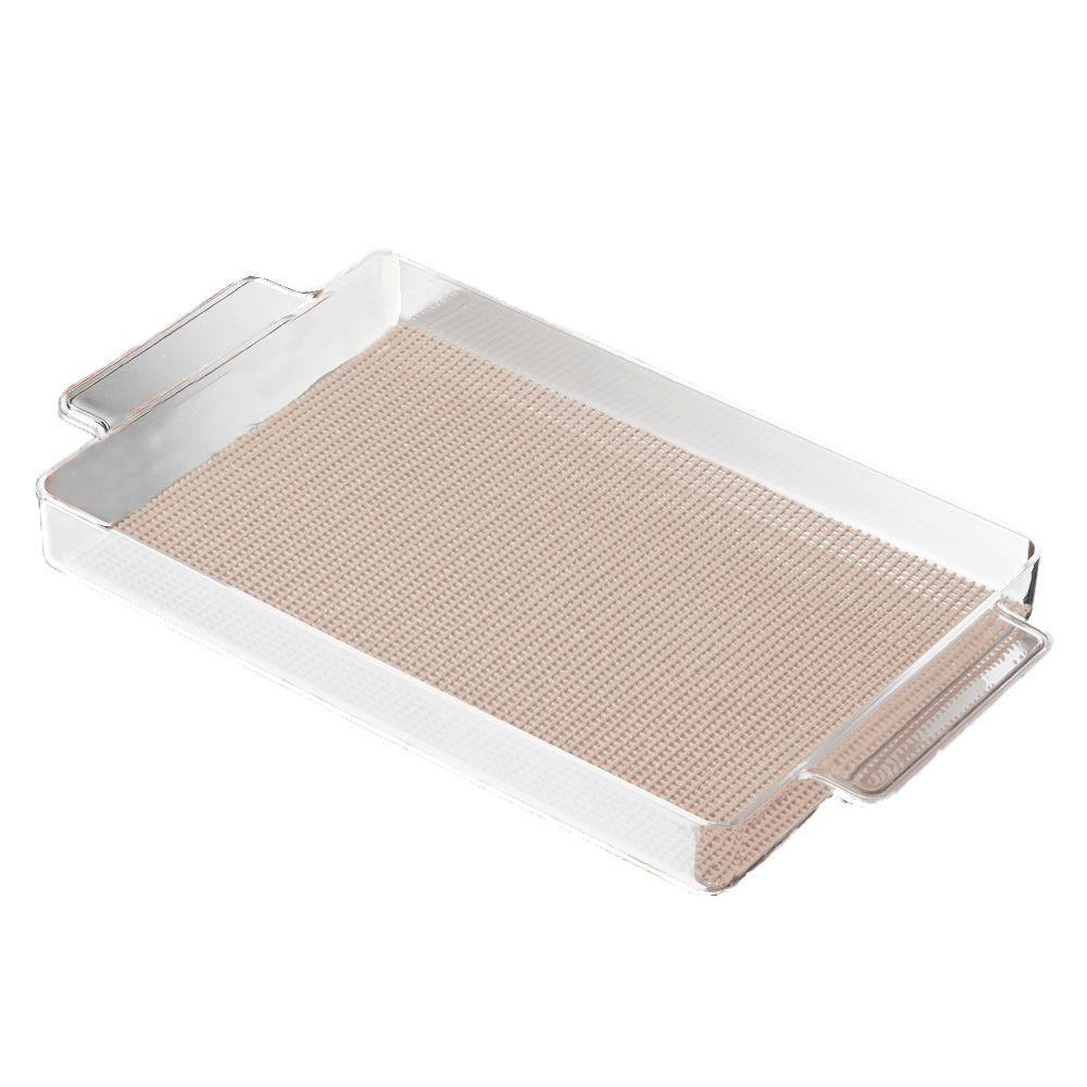 Fishnet Rectangular Serving Tray in Tan