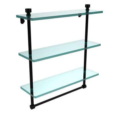 Foxtrot 16 in. L  x 18 in. H  x 5 in. W 3-Tier Clear Glass Bathroom Shelf with Towel Bar in Matte Black