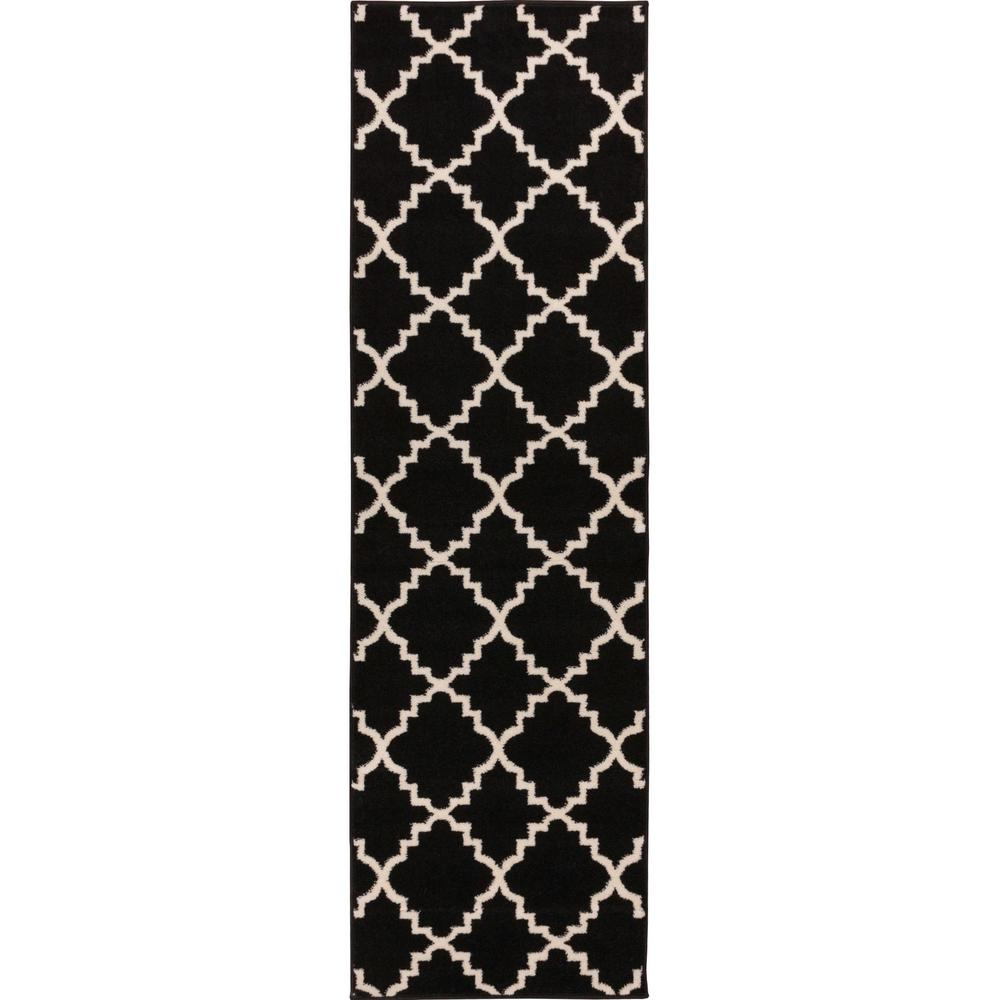Sydney Lulu's Lattice Moroccan Trellis Black 2 ft. 7 in. x 9 ft. 10 in. Runner Rug