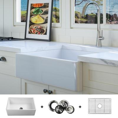 Luxury White Fine Fireclay 26 in. Single Bowl Modern Farmhouse Flat Front Kitchen Sink Includes Grid and Drain