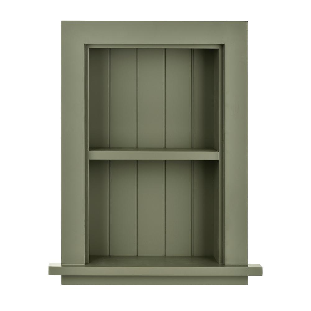 12.75 in. W Wood Bathroom Recessed Wall Shelf in Green