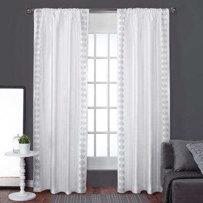 Tiffany Winter White Embroidery Striped Rod Pocket Top Window Curtain