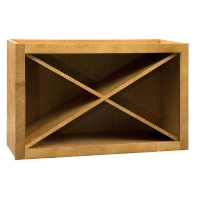 Hargrove Assembled 30 x 18 x 12 in. Wall Cabinet Kitchen Bistro X-Wine Rack in Cinnamon