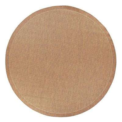 Saddlestitch Cocoa/Natural 9 ft. Round Area Rug