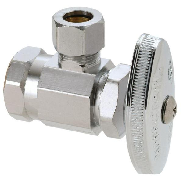 1/2 in. FIP Inlet x 3/8 in. Comp Outlet Multi-Turn Angle Valve in Satin Nickel