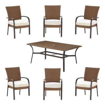 Corranade Custom 7-Piece Wicker Outdoor Dining Set with Cushions Included, Choose Your Own Color