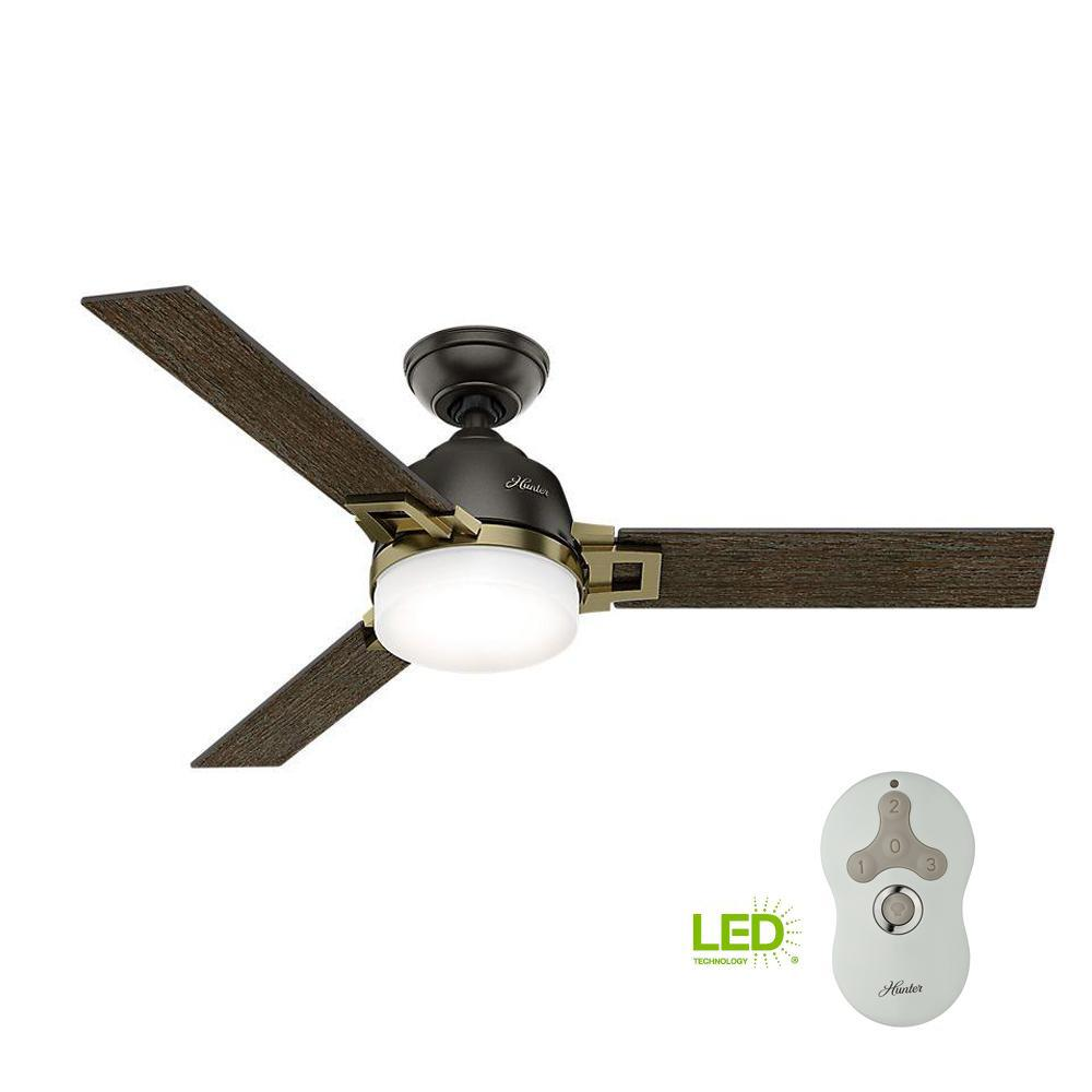 Hunter Leoni 48 in. LED Indoor Noble Bronze and Modern Brass Ceiling ...
