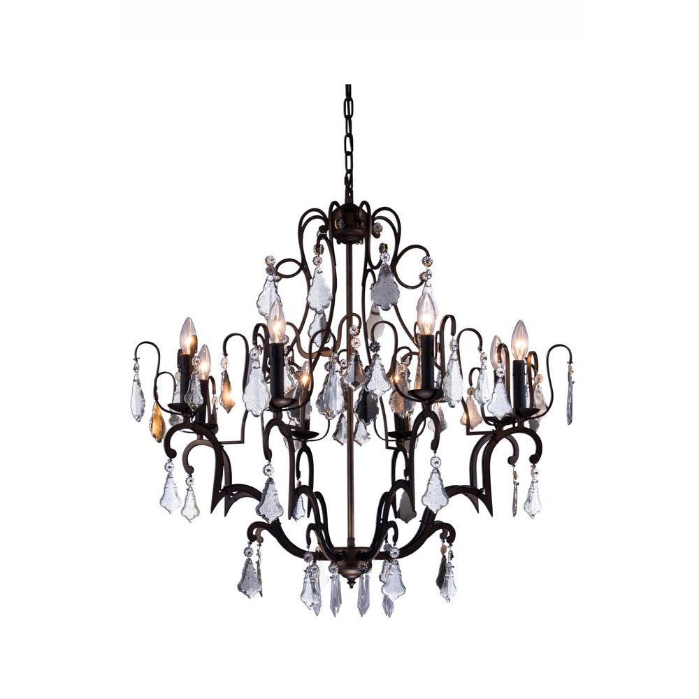 Elegant lighting charlotte 8 light antique bronze chandelier with elegant lighting charlotte 8 light antique bronze chandelier with clear crystal arubaitofo Image collections