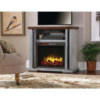 Hamilton 38 in. Infrared Media Mantel Electric Fireplace TV Stand in Aged Indigo