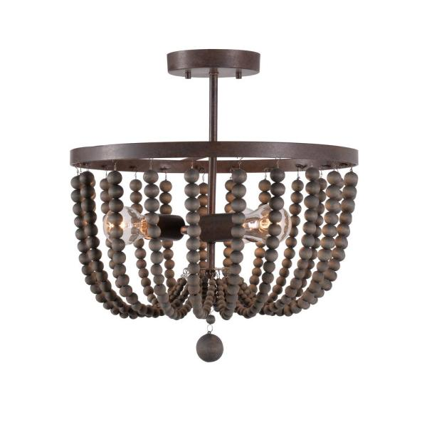 Dumas 3-Light Golden Bronze Wood Bead Semi-Flush Mount