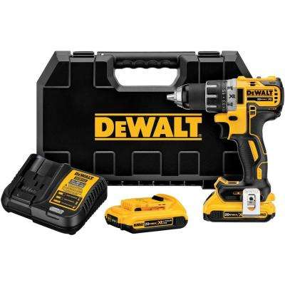 20-Volt MAX XR Lithium-Ion Cordless 1/2 in. Brushless Compact Drill/Driver Kit with (2) Batteries 2Ah, Charger and Case