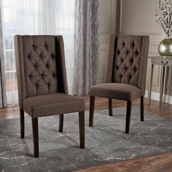 Blythe Dark Brown and Brown Fabric Tufted Dining Chairs (Set of 2)