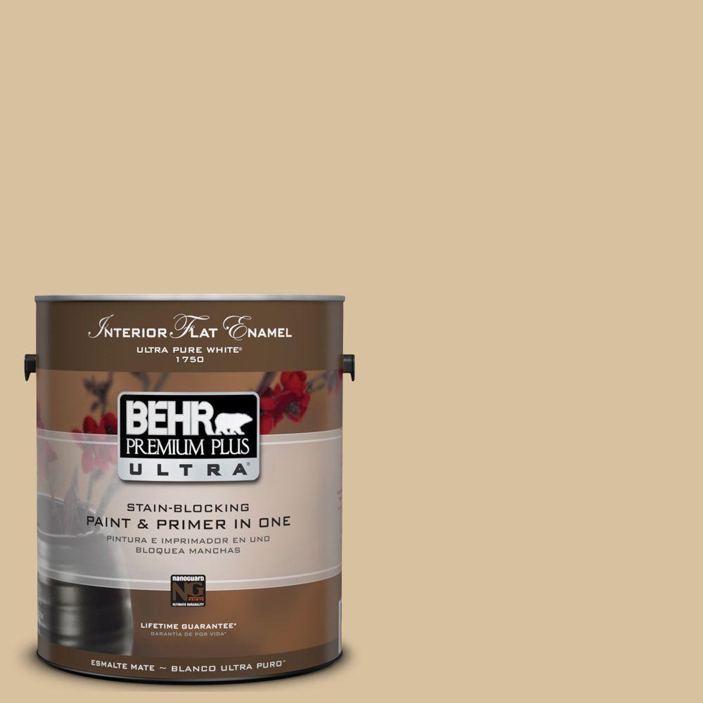 BEHR Premium Plus Ultra 1-gal. #UL160-7 Pale Wheat Interior Flat Enamel Paint