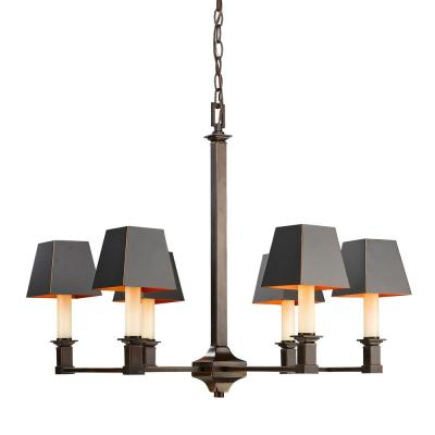 Bradley 6-Light Cordoban Bronze Chandelier with Black Metal Shades