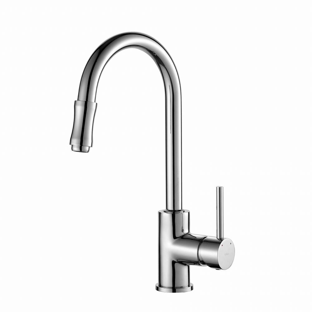KRAUS Single-Handle Pull-Down Kitchen Faucet in Chrome-KPF-1622CH ...