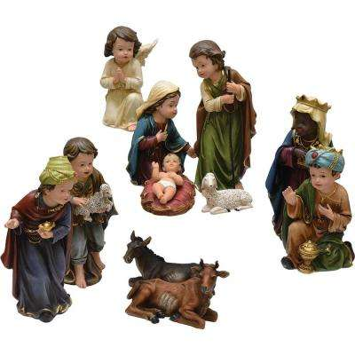 8 in. Christmas Table Top Inspirational Religious Children's First Nativity Set (11-Piece)