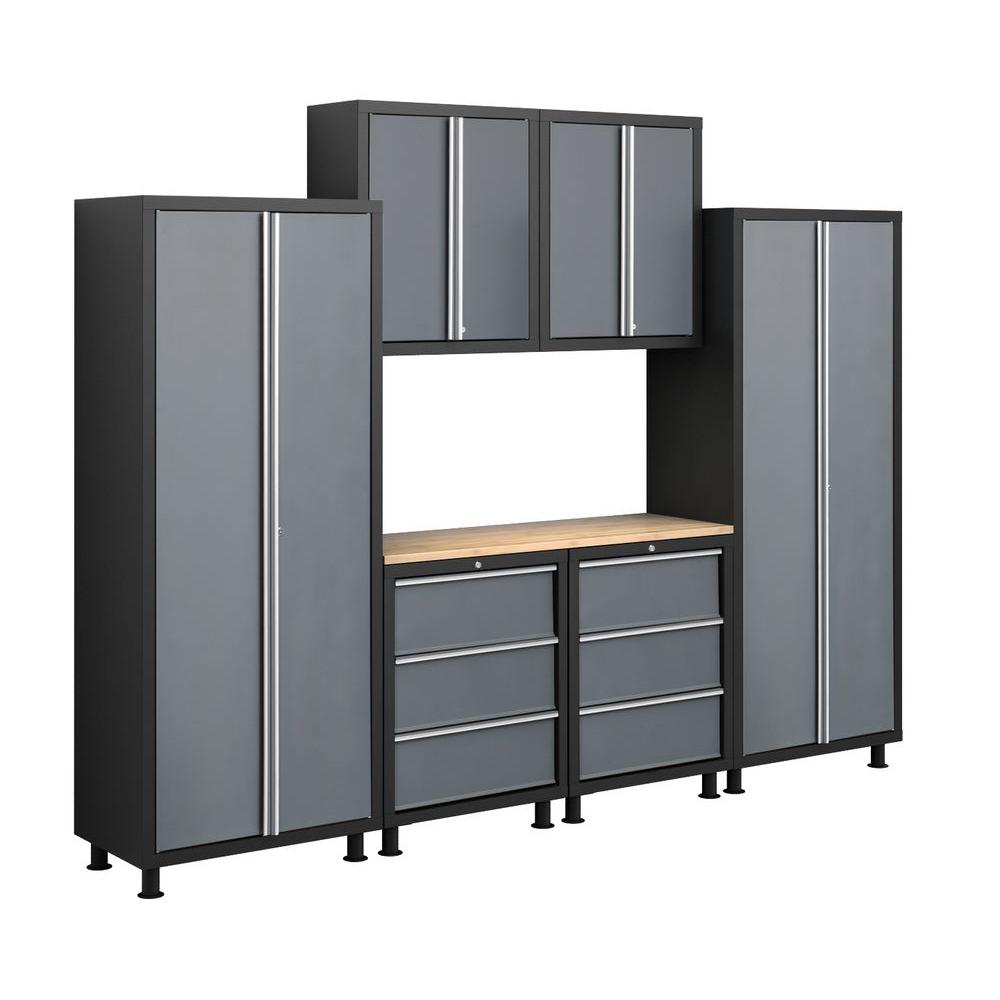 NewAge Products Bold Series 72 in. H x 112 in. W x 18 in. D 24-Gauge Welded Steel Garage Cabinet Set in Grey (7-Piece)