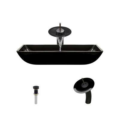 Glass Vessel Sink in Black with Waterfall Faucet and Pop-Up Drain in Antique Bronze