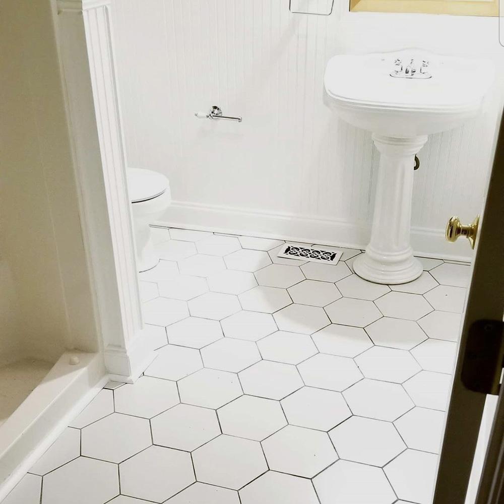Merola Tile Textile Hex White 8 5 In, White Tile Bathroom Floor