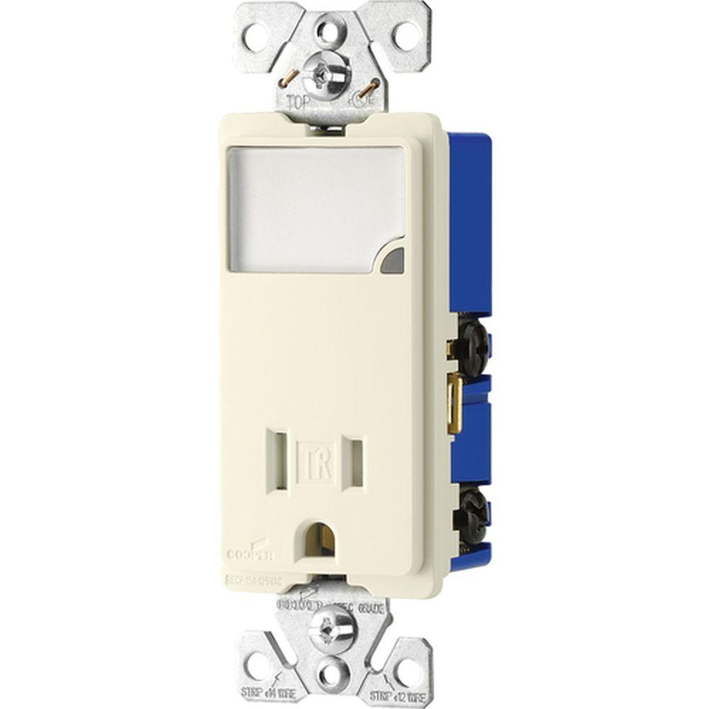 Eaton 15 Amp LED Night-light Combination with Tamper Resistant Receptacle - Light Almond