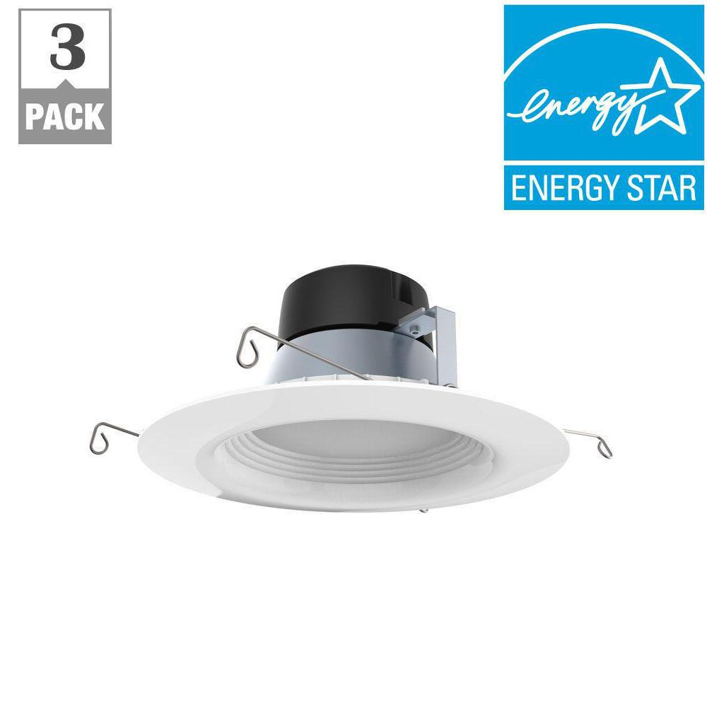 EcoSmart 5in. & 6in. White Integrated LED Recessed Trim (3-Pack)