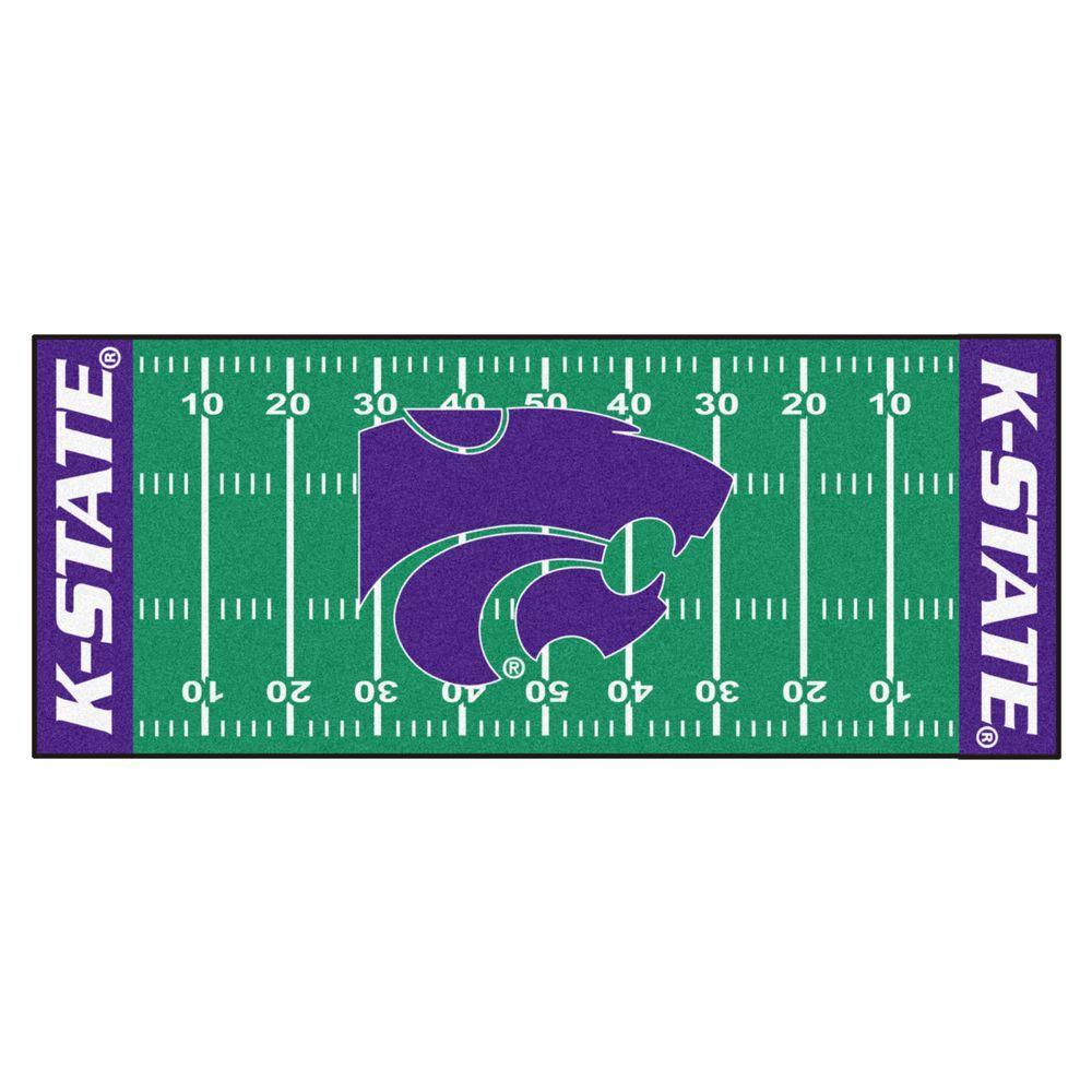 NCAA -Kansas State University Green 3 ft. x 6 ft. Indoor Football Field Runner Rug