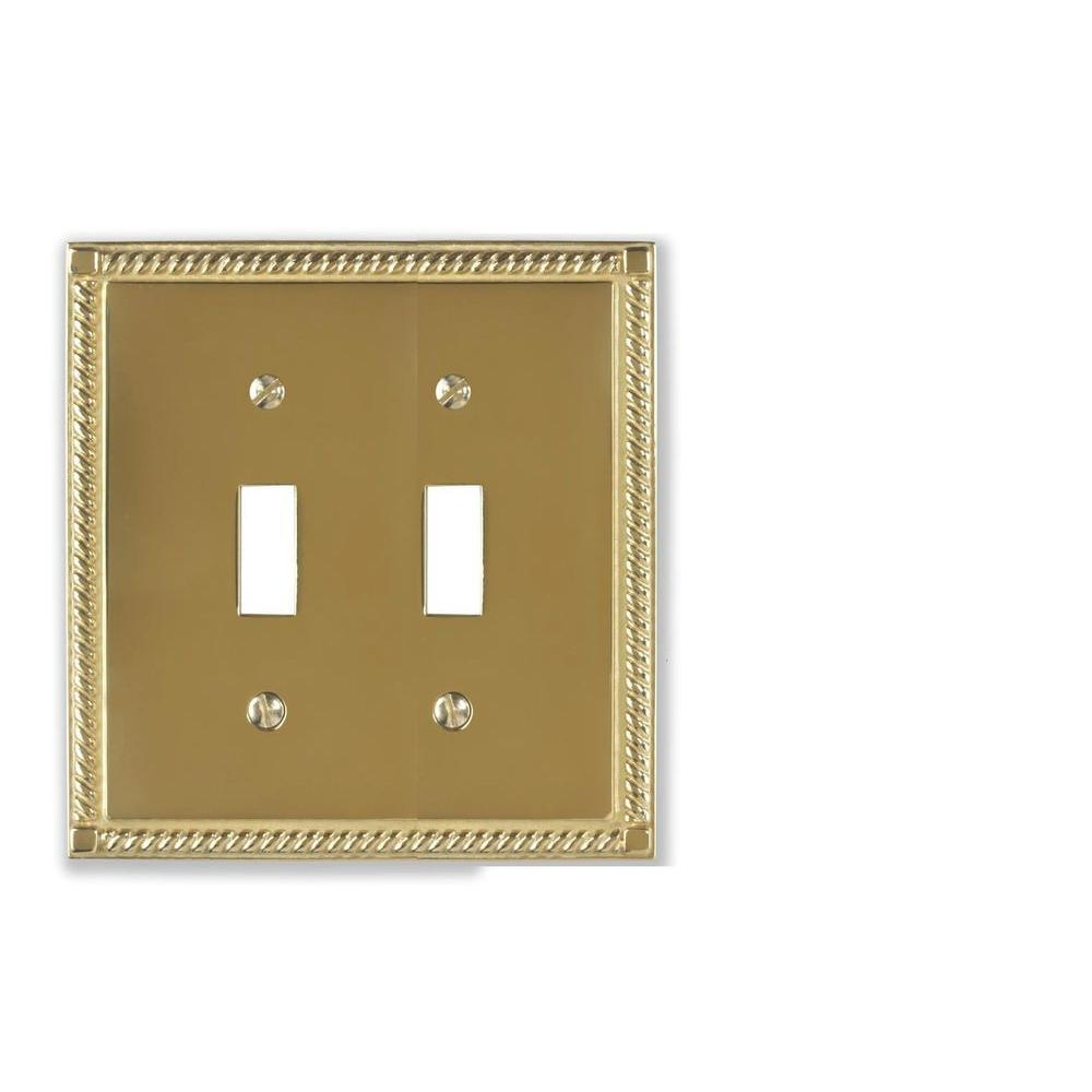 amerelle georgian 2 toggle wall plate solid brass