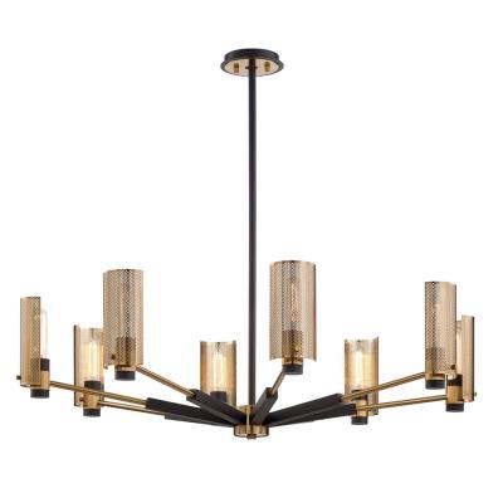 Pilsen 8-Light Modern Bronze And Aged Brass Chandelier with Plated Brass Shade