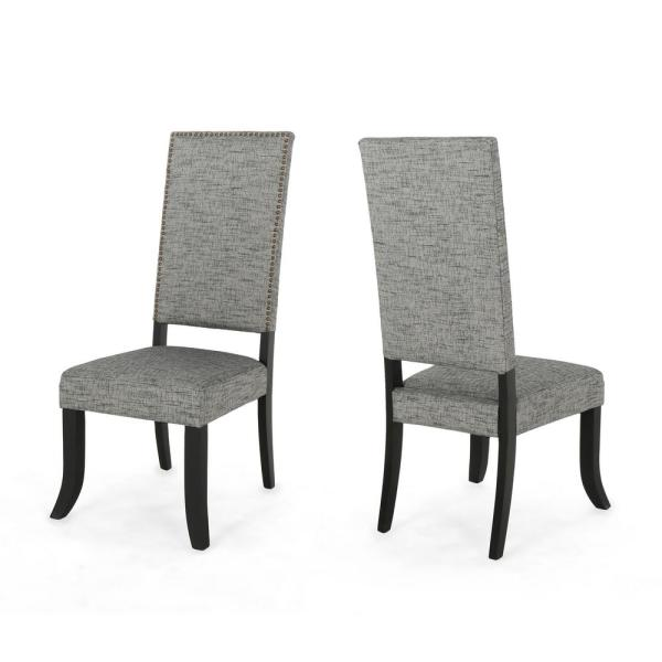 Noble House Coquille Glam Taupe Fabric High-Back Dining Chairs with Nailhead