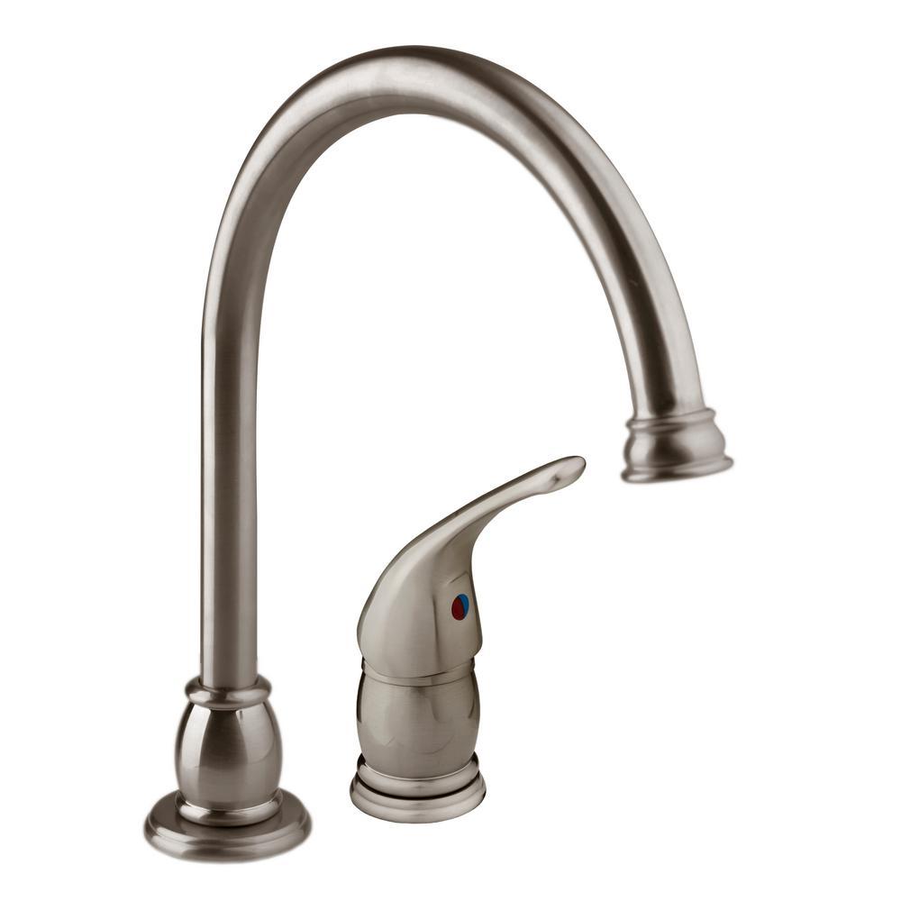 Single-Handle Goose Neck RV Kitchen Faucet in Brushed Satin Nickel