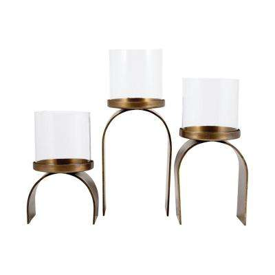 Arch 12 in., 11 in. and 8 in. Antique Brass and Clear glass Candle Holders (Set of 3)