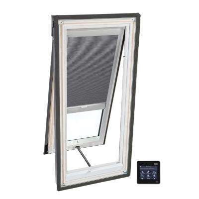 21 in. x 54-7/16 in. Venting Deck-Mount Skylight w/ Laminated Low-E3 Glass and Grey Solar Powered Room Darkening Blind