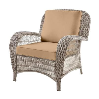 Beacon Park Gray Wicker Outdoor Patio Stationary Lounge Chair with CushionGuard Toffee Tan Cushions