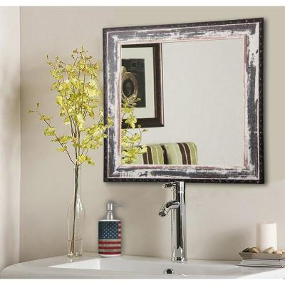 34 in. W x 34 in. H Framed Square Bathroom Vanity Mirror in Ivory