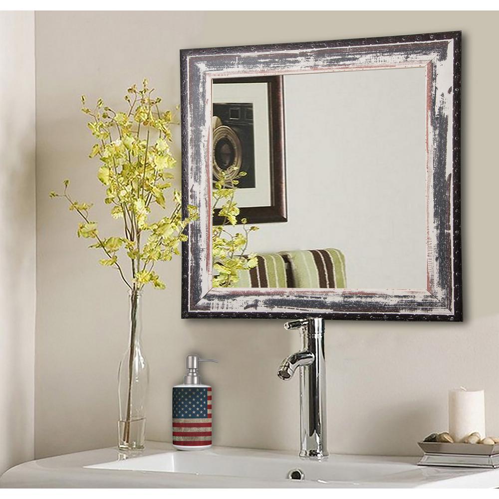 16 in. W x 16 in. H Framed Square Bathroom Vanity Mirror in Ivory