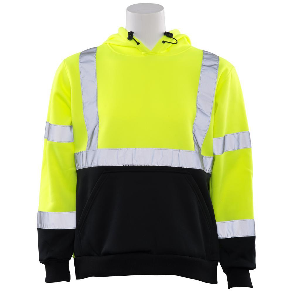 W377 LG Hi Viz Lime/Black Bottom Poly Hooded Pullover Sweatshirt