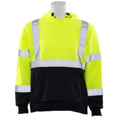 W377 MD Hi Viz Lime/Black Bottom Poly Hooded Pullover Sweatshirt