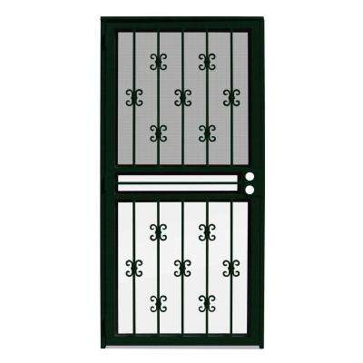 36 in. x 80 in. Moorish Lace Forest Green Recessed Mount All Season Security Door with Insect Screen and Glass Inserts