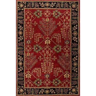 Hand-Tufted Red Ochre 4 ft. x 6 ft. Oriental Area Rug